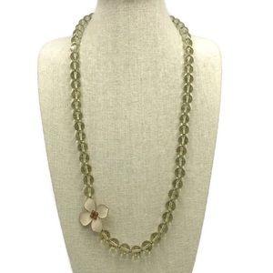 J Crew Glass Bead Necklace Acrylic Flower